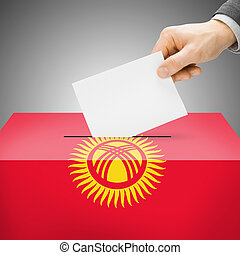 Ballot box painted into national flag - Kyrgyzstan - Ballot...