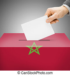 Ballot box painted into national flag - Morocco - Ballot box...