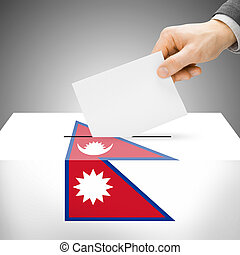 Ballot box painted into national flag - Nepal - Ballot box...