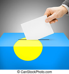 Ballot box painted into national flag - Palau - Ballot box...