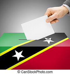 Ballot box painted into national flag - Saint Kitts and...