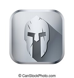 Square icon of Spartan helmet with scratches from shock
