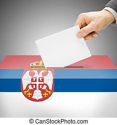 Ballot box painted into national flag - Serbia - Ballot box...