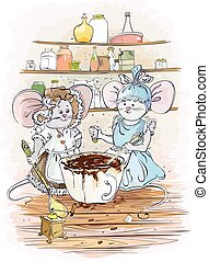 Mouses cook chocolate - Children's cartoon illustration of...