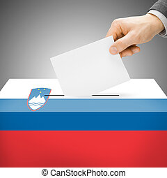 Ballot box painted into national flag - Slovenia - Ballot...