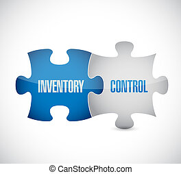 inventory control puzzle pieces sign concept illustration...