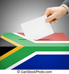 Ballot box painted into national flag - South Africa -...