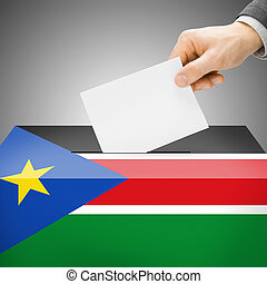 Ballot box painted into national flag - South Sudan - Ballot...