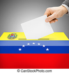 Ballot box painted into national flag - Venezuela - Ballot...