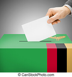Ballot box painted into national flag - Zambia - Ballot box...