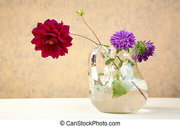 Asters and peony in glass jug on a table