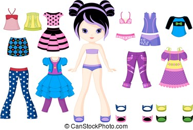 Paper doll - Character girl with a set of clothes