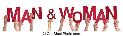 Hands Holding Red Word Man And Woman