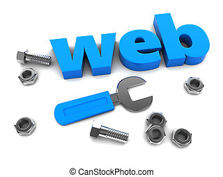 web design - 3d illustration of sign and wrench, web design...