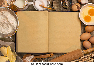 Blank Recipe Book - Baking - Space for Text - Blank recipe...