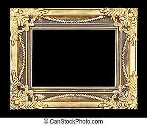 Gold picture frame on black background.