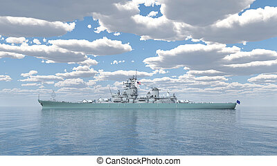 American battleship of World War 2 - Computer generated 3D...