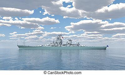 American battleship of World War 2 - Computer generated 3D...