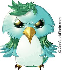 angry bird - pretty angry bird painted on a white background