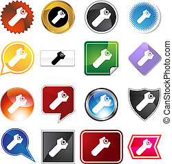 Wrench Bolt Icon Set - Wrench bolt icon set isolated on a...