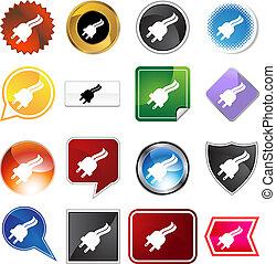 Plug Icon Set - Plug icon set isolated on a white background...