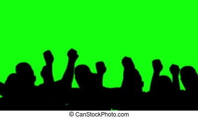 group man silhouettes dancing green screen
