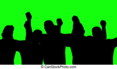 group mens slihouettes dance green screen
