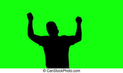single man silhouette dancing green screen