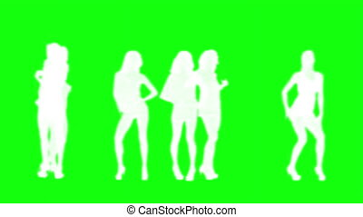 women silhouette dancing (white) green screen