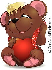 bear and heat - beautiful bear with heart and scarf on a...