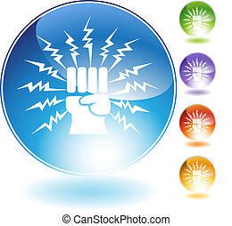 Lightning Punch Crystal Icon - Lightning punch crystal icon...