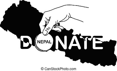 hand holding coin with the word DONATE and black Nepal map...