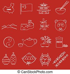 China theme red and white outline icons set eps10