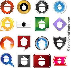 Acorn Icon Set - Acorn icon set isolated on a white...