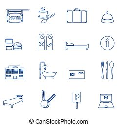 hotel and motel simple outline icons eps10