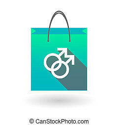 Blue shopping bag icon with a male gay sign - Illustraiton...