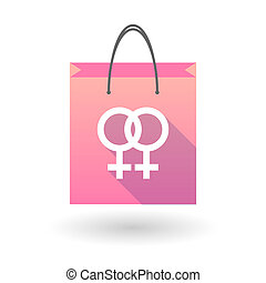 Pink shopping bag icon with a female gay sign - Illustration...