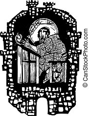Woodcut Monk in Monastery - Woodcut style monk transcribing...
