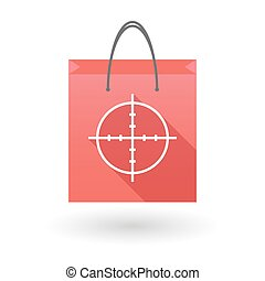 Red shopping bag icon with a crosshair - Illustration of a...