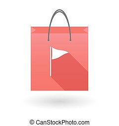 Red shopping bag icon with a golf flag - Red shopping bag...