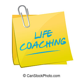 life coaching memo post sign icon concept illustration...