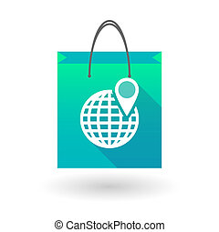 Blue shopping bag icon with a world globe