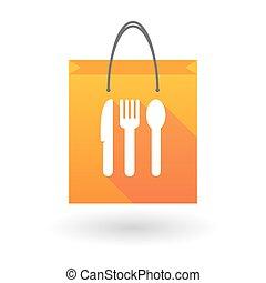 Orange shopping bag icon with cuttlery - Orange shopping bag...