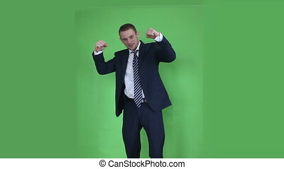 business man happy winner green screen