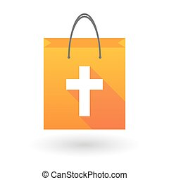 Orange shopping bag icon with a christian cross - Orange...