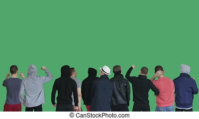 group guys protest green screen
