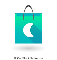 Shopping bag icon with a moon - Illustration of a shopping...