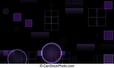 Flashing Purple circles and squares on a black background