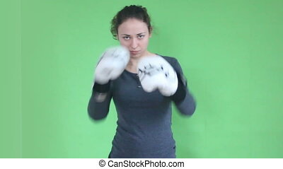 young girl boxing green screen