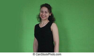 young girl happy green screen